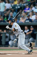 Shortstop Diego Castillo (7) of the Charleston RiverDogs bats in a game against the Columbia Fireflies on Friday, June 9, 2017, at Spirit Communications Park in Columbia, South Carolina. Columbia won, 3-1. (Tom Priddy/Four Seam Images)