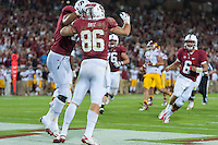 STANFORD, CA - SEPTEMBER 15, 2012: Zach Ertz celebrates his touchdown during the Stanford vs USC game at Stanford Stadium to open the PAC-12 regular season competition.  Stanford defeated the Trojans 21-14.