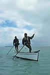 "Pecheurs à la senne, lagon de Rodrigues..Fishermen with ""senne"" nets on the Rodigues lagoon"