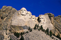 Mount Rushmore National Memorial, sculptures of Presidents George Washington, Thomas Jefferson, Theodore Roosevelt, Abraham Lincoln by Gutzon Borglum.