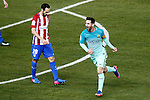 Atletico de Madrid's Juanfran Torres (l) dejected and FC Barcelona's Leo Messi celebrates goal during Spanish Kings Cup semifinal 1st leg match. February 01,2017. (ALTERPHOTOS/Acero)
