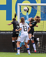 Brugge's goal keeper Elke Geeraert (in light blue) makes a save during a female soccer game between Eendracht Aalst and Dames Club Brugge YLA on the first matchday of the 2020 - 2021 season of Belgian Women's SuperLeague , friday 28 of August 2020  in Aalst , Belgium . PHOTO SPORTPIX.BE | SPP | SEVIL OKTEM