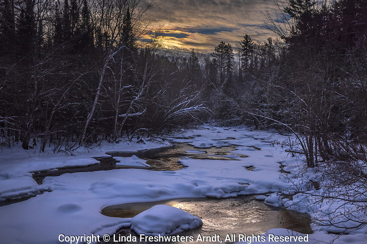 The partially frozen Chippewa River in northern Wisconsin.