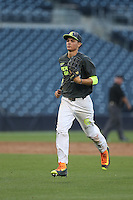 Mickey Moniak (22) of the West team runs from the outfield to the dugout during the 2015 Perfect Game All-American Classic at Petco Park on August 16, 2015 in San Diego, California. The East squad defeated the West, 3-1. (Larry Goren/Four Seam Images)