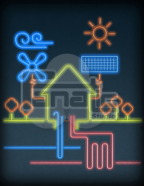Illustration of house connected with natural energy resources over gray background