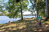 France, Nievre, Regional Natural Park of Morvan, Montsauche les Settons, Lac des Settons, lake side in summer // France, Nièvre (58), Parc naturel régional du Morvan, Montsauche-les-Settons, lac des Settons, bords du lac en été