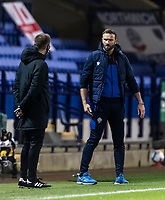 Bolton Wanderers' head coach Ian Evatt conversing with the fourth official <br /> <br /> Photographer Andrew Kearns/CameraSport<br /> <br /> The EFL Sky Bet League Two - Bolton Wanderers v Salford City - Friday 13th November 2020 - University of Bolton Stadium - Bolton<br /> <br /> World Copyright © 2020 CameraSport. All rights reserved. 43 Linden Ave. Countesthorpe. Leicester. England. LE8 5PG - Tel: +44 (0) 116 277 4147 - admin@camerasport.com - www.camerasport.com