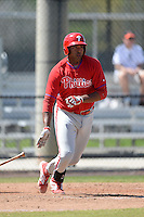 Philadelphia Phillies infielder Art Charles (7) during a minor league spring training game against the Pittsburgh Pirates on March 18, 2014 at the Carpenter Complex in Clearwater, Florida.  (Mike Janes/Four Seam Images)