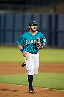 AZL Mariners second baseman Manny Pazos (21) jogs off the field between innings of the game against the AZL Royals on July 29, 2017 at Peoria Stadium in Peoria, Arizona. AZL Royals defeated the AZL Mariners 11-4. (Zachary Lucy/Four Seam Images)