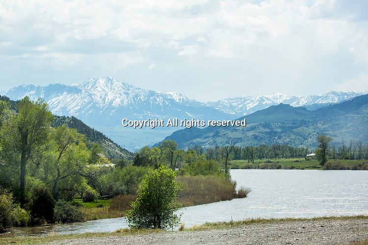 Snow is still on the mountains in Montana.