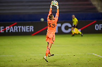 CARSON, CA - OCTOBER 18: Jonathan Klinsmann #33 GK of Los Angeles Galaxy reaches high for a ball during a game between Vancouver Whitecaps and Los Angeles Galaxy at Dignity Heath Sports Park on October 18, 2020 in Carson, California.