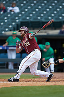 Quincy Nieporte (29) of the Florida State Seminoles follows through on his swing against the Notre Dame Fighting Irish in Game Four of the 2017 ACC Baseball Championship at Louisville Slugger Field on May 24, 2017 in Louisville, Kentucky. The Seminoles walked-off the Fighting Irish 5-3 in 12 innings. (Brian Westerholt/Four Seam Images)