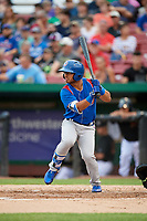 South Bend Cubs left fielder Christian Donahue (5) at bat during a game against the Kane County Cougars on July 21, 2018 at Northwestern Medicine Field in Geneva, Illinois.  South Bend defeated Kane County 4-2.  (Mike Janes/Four Seam Images)
