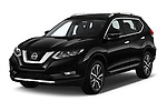 2019 Nissan X-Trail Tekna 5 Door SUV angular front stock photos of front three quarter view