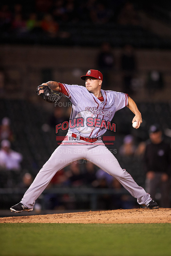 Syracuse Chiefs relief pitcher Aaron Laffey (34) delivers a pitch during a game against the Rochester Red Wings on July 1, 2016 at Frontier Field in Rochester, New York.  Rochester defeated Syracuse 5-3.  (Mike Janes/Four Seam Images)