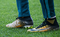 Jordan Ayew of Swansea City personalised nike football boots during the 2017/18 Pre Season Friendly match between Barnet and Swansea City at The Hive, London, England on 12 July 2017. Photo by Andy Rowland.