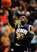 29 January 2012: University of New Hampshire Wildcat forward Jeron Trotman, a Junior from Huntsville, AL, warms up at half-time of a game against the University of Vermont Catamounts at Patrick Gymnasium in Burlington, Vermont. The Catamounts defeated the Wildcats 77-60 in America East play. Mandatory Credit: Ed Wolfstein Photo