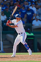 Rob Refsnyder (14) of the Texas Rangers at bat during a Cactus League Spring Training game against the Los Angeles Dodgers on March 8, 2020 at Surprise Stadium in Surprise, Arizona. Rangers defeated the Dodgers 9-8. (Tracy Proffitt/Four Seam Images)