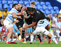 12th September 2021; Cbus Super Stadium, Robina, Queensland, Australia; Rugby International series, New Zealand versus Argentina:  Nepo Laulala is tackled by Bertranou