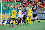 The Hague, Netherlands, June 07: Kim Lammers #23 of The Netherlands points to Kelly Jonker #10 of The Netherlands after scoring the leading goal (0-1) during the field hockey group match (Group A) between Australia and The Netherlands on June 7, 2014 during the World Cup 2014 at Kyocera Stadium in The Hague, Netherlands. Final score 0-0 (0-2) (Photo by Dirk Markgraf / www.265-images.com) *** Local caption ***