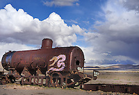 BOLIVIA  UYUNI village environment<br /> Uyuni Railway cemetery relicts of the mining boom during the last century.<br /> <br /> Full size: 67,1 MB