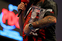 9th October 2021; Morningside Arena, Leicester, England; PDC BoyleSports Darts World Grand Prix finals ; Jonny Clayton holds the Boylesports World Grand Prix trophy