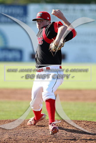 Batavia Muckdogs pitcher Chase Reid (39) during the first game of a double header vs. the Connecticut Tigers at Dwyer Stadium in Batavia, New York July 10, 2010.   Batavia defeated Connecticut 5-3.  Photo By Mike Janes/Four Seam Images