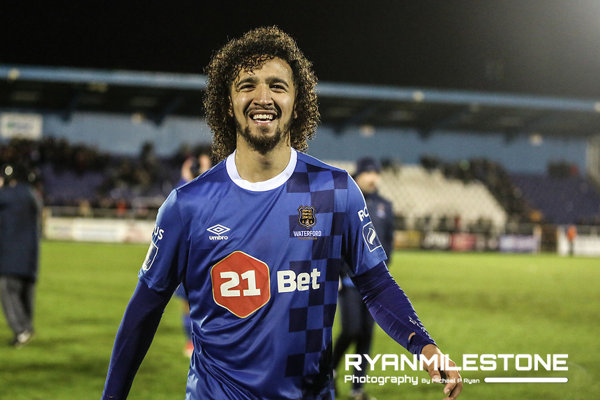 Waterford's Bastien Héry celebrates at the end of the SSE Airtricity League Premier Division game between Waterford FC and Derry City on Friday 16th February 2018 at the RSC Waterford. Photo By: Michael P Ryan