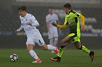 Pictured: (L-R) Adnan Maric of Swansea City followed by Tyler Frost of Reading Monday 15 May 2017<br /> Re: Premier League Cup Final, Swansea City FC U23 v Reading U23 at the Liberty Stadium, Wales, UK