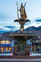 Peru, Cusco.  Inca King Pachacutec above Fountain in Plaza de Armas.
