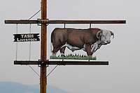 Montana ranch sign, bull sign