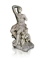 Roman statue of Dionysus. Marble. Perge. 2nd century AD. Inv no . Antalya Archaeology Museum; Turkey. Against a white background.<br /> <br /> Dionysus  is the god of the grape-harvest, winemaking and wine, of fertility, ritual madness, religious ecstasy, and theatre in ancient Greek religion and myth.