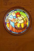 Stained glass lamp in the barrel cellar. Chateau la Grace Dieu les Menuts, Saint Emilion, Bordeaux, France