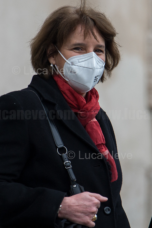 Maria Cristina Messa, Minister of University.<br /> <br /> Rome, Italy. 13th Feb, 2021. The new Italian Government, led by Professor and former President of the ECB - European Central Bank - Mario Draghi, leaves the Palazzo del Quirinale (Quirinale Palace) after swearing in front of the President of the Italian Republic, Sergio Mattarella. This is the 67th Government of Italy.<br /> <br /> Footnotes & Links:<br /> Italian Government website: http://www.governo.it/