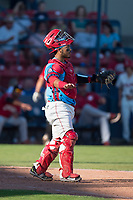 Spokane Indians catcher Isaias Quiroz (11) during a Northwest League game against the Vancouver Canadians at Avista Stadium on September 2, 2018 in Spokane, Washington. The Spokane Indians defeated the Vancouver Canadians by a score of 3-1. (Zachary Lucy/Four Seam Images)