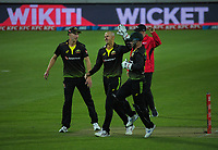 Australia's Ashton Agar celebrates one of his six wickets during the third international men's T20 cricket match between the New Zealand Black Caps and Australia at Sky Stadium in Wellington, New Zealand on Wednesday, 3 March 2021. Photo: Dave Lintott / lintottphoto.co.nz