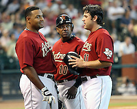 Astros Carlos Lee, Miguel Tejada, and Lance Berkman on Sunday May 25th at Minute Maid Park in Houston, Texas. Photo by Andrew Woolley / Four Seam Images.