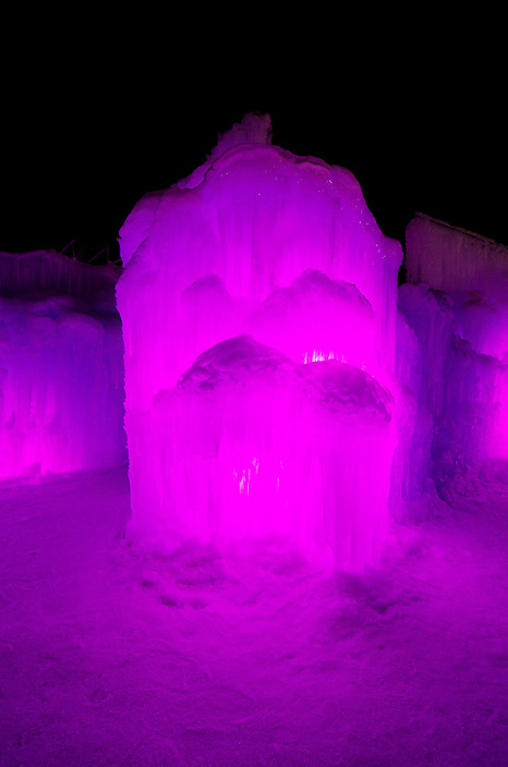 Glowing pillars and towers form passages and corridors leading to numerous chambers inside the Ice Castle at Loon Mountain.