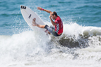 Huntington Beach, CA - Tuesday July 31, 2018: Sebastian Zietz in action during a World Surf League (WSL) Qualifying Series (QS) Men's round of 96 heat at the 2018 Vans U.S. Open of Surfing on South side of the Huntington Beach pier.