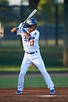 AZL Dodgers Lasorda Luis Rodriguez (17) at bat during an Arizona League game against the AZL Athletics Green at Camelback Ranch on June 19, 2019 in Glendale, Arizona. AZL Dodgers Lasorda defeated AZL Athletics Green 9-5. (Zachary Lucy/Four Seam Images)