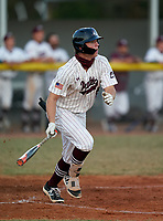 Braden River Pirates Logan Waldschmidt (15) hits a triple during a game against the Venice Indians on February 25, 2021 at Braden River High School in Bradenton, Florida. (Mike Janes/Four Seam Images)