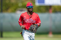 Philadelphia Phillies outfielder Corbin Williams (4) jogs to the dugout during an Extended Spring Training game against the Toronto Blue Jays on June 12, 2021 at the Carpenter Complex in Clearwater, Florida. (Mike Janes/Four Seam Images)
