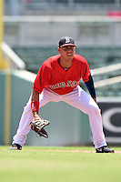 GCL Red Sox first baseman Darwin Pena (5) during a game against the GCL Rays on June 25, 2014 at JetBlue Park at Fenway South in Fort Myers, Florida.  GCL Red Sox defeated the GCL Rays 7-0.  (Mike Janes/Four Seam Images)