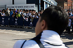 Tottenham Hotspur 4 Watford 0, 08/04/2017. White Hart Lane, Premier League. A group of home supporters with a South Korea flag waiting for players too emerge from the stadium at the end of the game as Tottenham Hotspur took on Watford in an English Premier League match at White Hart Lane. Spurs were due to make an announcement in April 2016 regarding when they would move out of their historic home and relocate to Wembley as their new stadium was completed. Spurs won this match 4-0 watched by a crowd of 31,706, a reduced attendance figure due to the ongoing ground redevelopment. Photo by Colin McPherson.