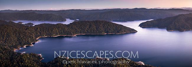 Twilight over Lake Waikaremoana, Te Urewera, Hawke's Bay, North Island, New Zealand, NZ