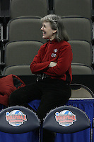 Omaha, NE - DECEMBER 20:  Dr. Elaine Lambert of the Stanford Cardinal during Stanford's 2008 NCAA Division I Women's Volleyball Final Four Championship closed practice before playing the Penn State Nittany Lions on December 20, 2008 at the Qwest Center in Omaha, Nebraska.