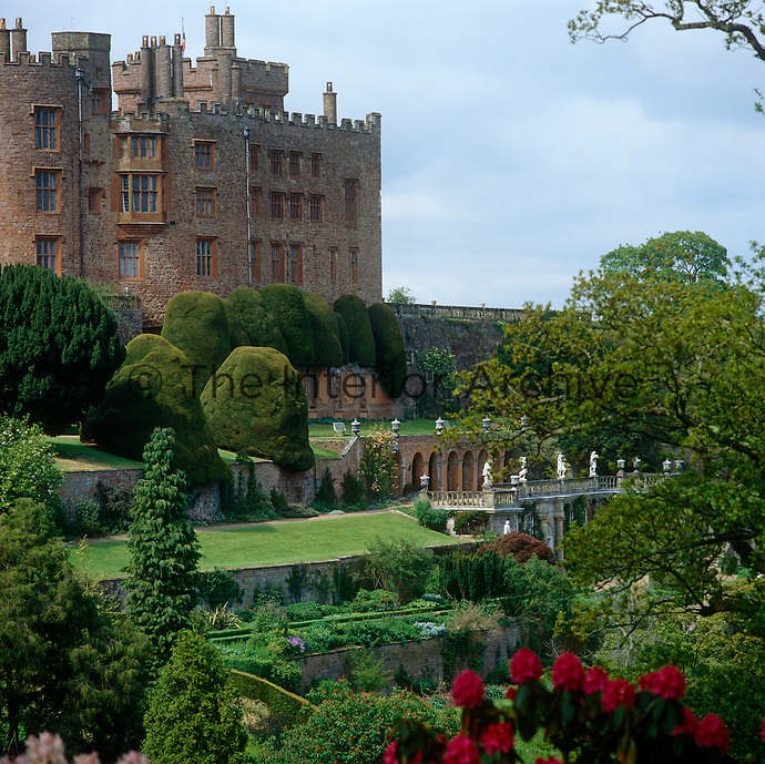 Powis Castle is famous for its extraordinary terraced gardens and centuries old yew trees