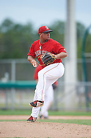 GCL Red Sox first baseman Rafael Oliveras (2) takes to the mound as a relief pitcher during the second game of a doubleheader against the GCL Rays on August 9, 2016 at JetBlue Park in Fort Myers, Florida.  GCL Rays defeated GCL Red Sox 9-1.  (Mike Janes/Four Seam Images)