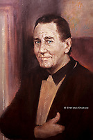 Particolare del  ritratto ufficiale di Alberto Sordi nel centenario dalla sua nascita 1925/2020, foto realizzata nello studio del pittore Rinaldo Geleng in occasione del suo ritratto ufficiale. Roma 2000