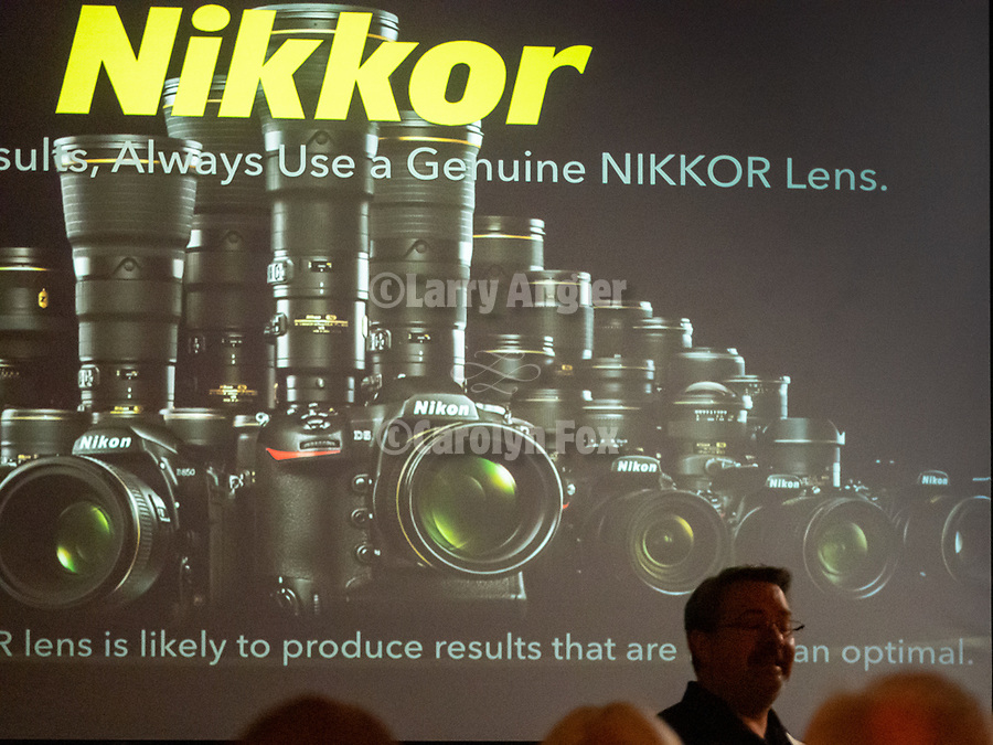 Paul Van Allen, lens specialist at Nikon shows lenses at Shooting the West<br /> .<br /> .<br /> #NikonUSA, <br /> #ShootingTheWest XXX, #WinnemuccaNevada